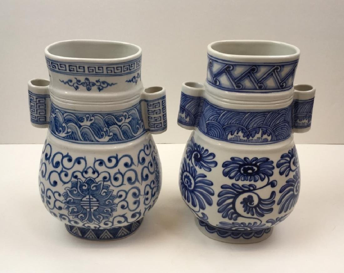 TWO HAND PAINTED CHINESE BLUE & WHITE VASES