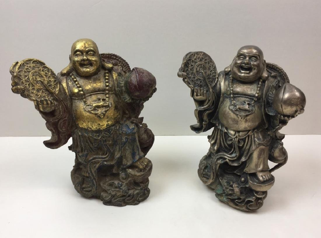 TWO METAL CHINESE BUDDHA FIGURES