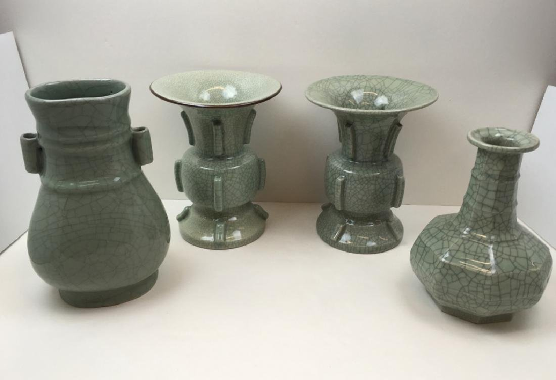 4 GREEN CRACKLE CHINESE VASES