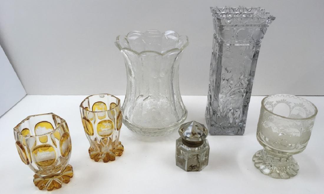 6 PCS OF VINTAGE  CRYSTAL GLASSWARE