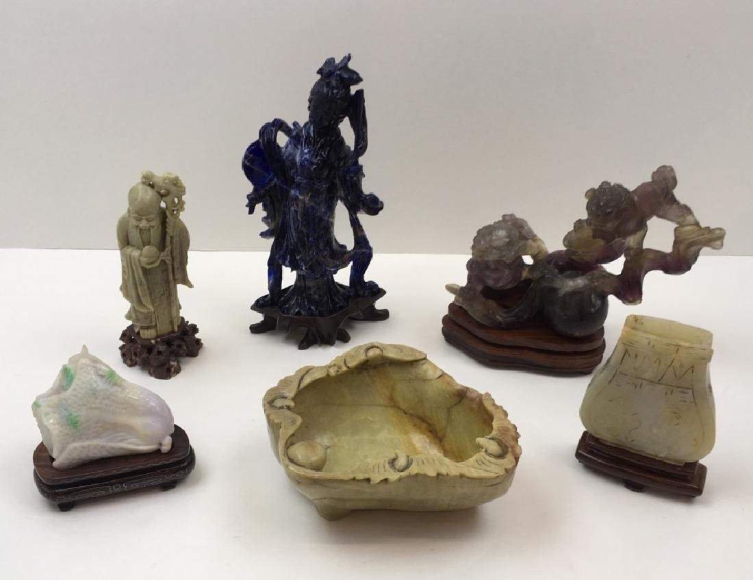 6 PCS OF CARVED STONE INCLUDING LAPIS & AMETHYST