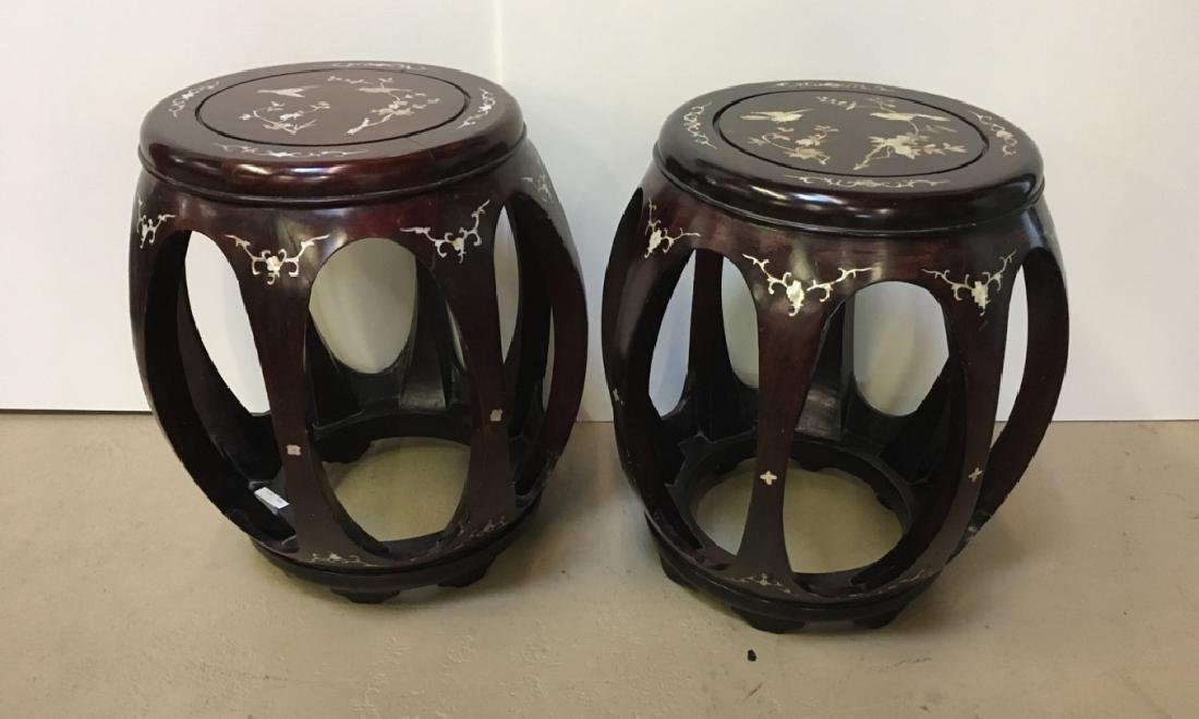PAIR OF INLAID ROSEWOOD GARDEN STOOLS