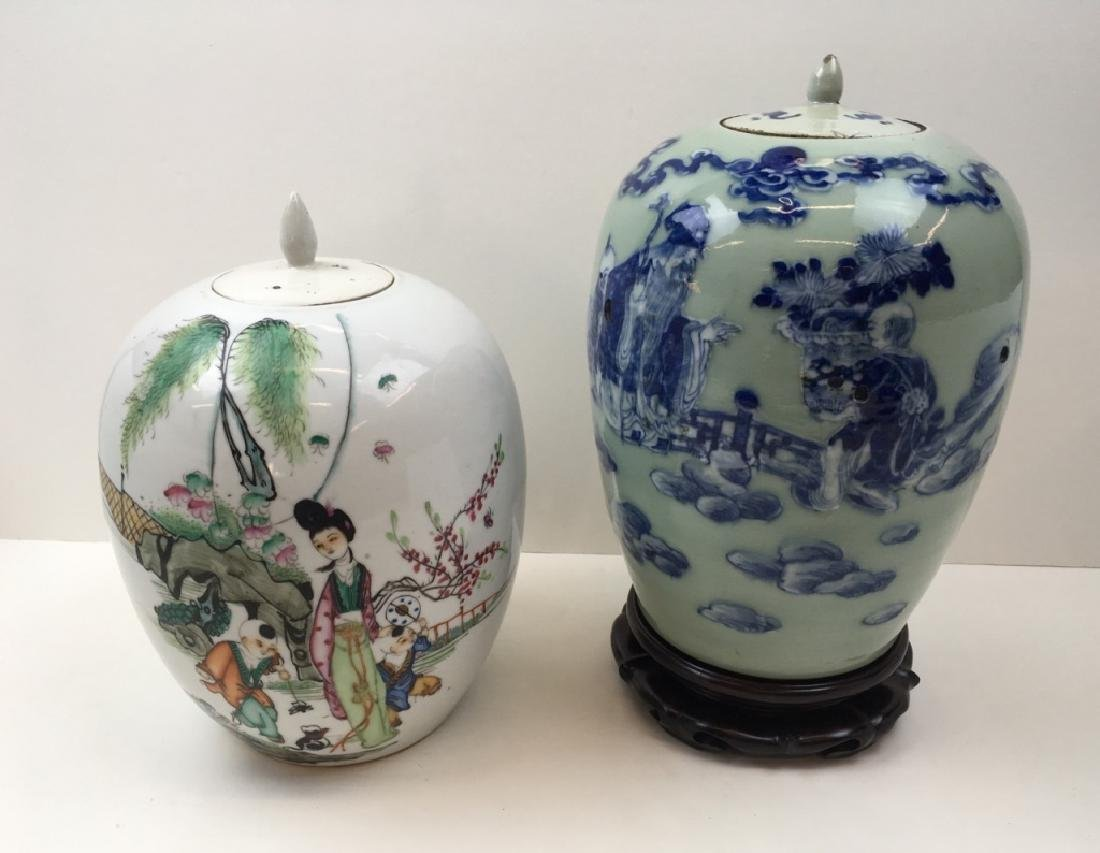 2 HAND PAINTED CHINESE LIDDED URNS