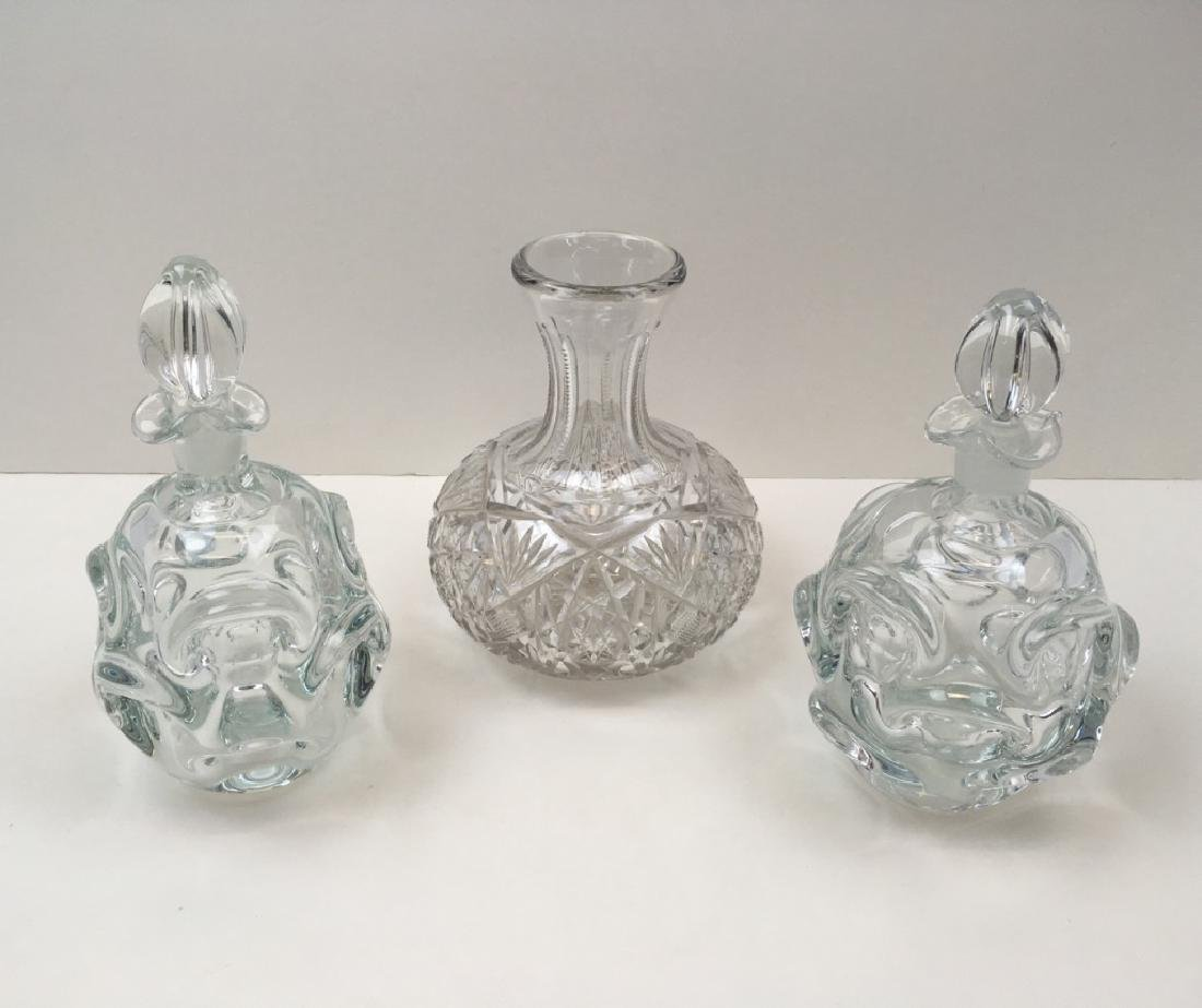 3 PCS - BLOWN GLASS DECANTERS & WATER CARAFE