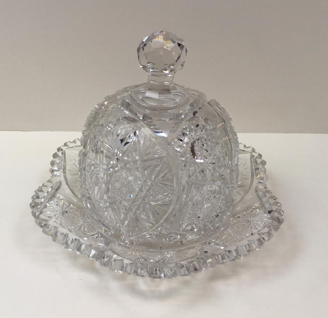 CUT GLASS CHEESE DOME & UNDER PLATE