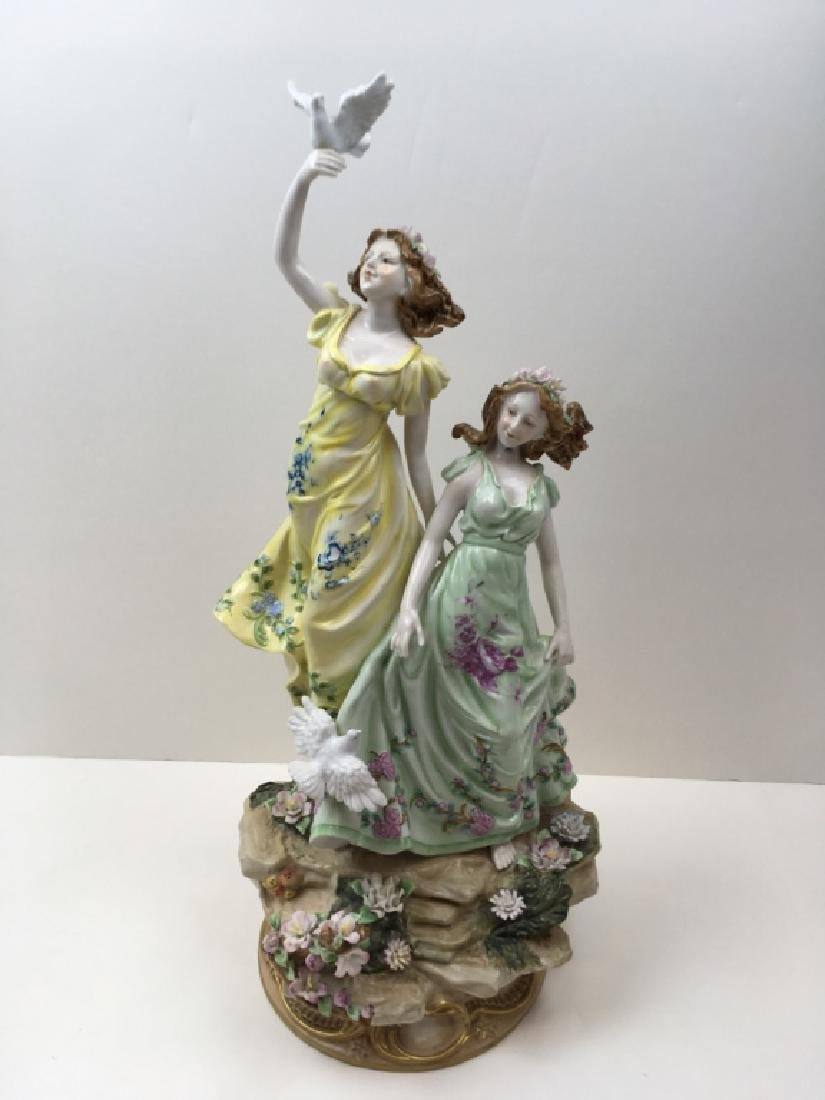 HAND PAINTED DRESDEN STYLE PORCELAIN FIGURINE
