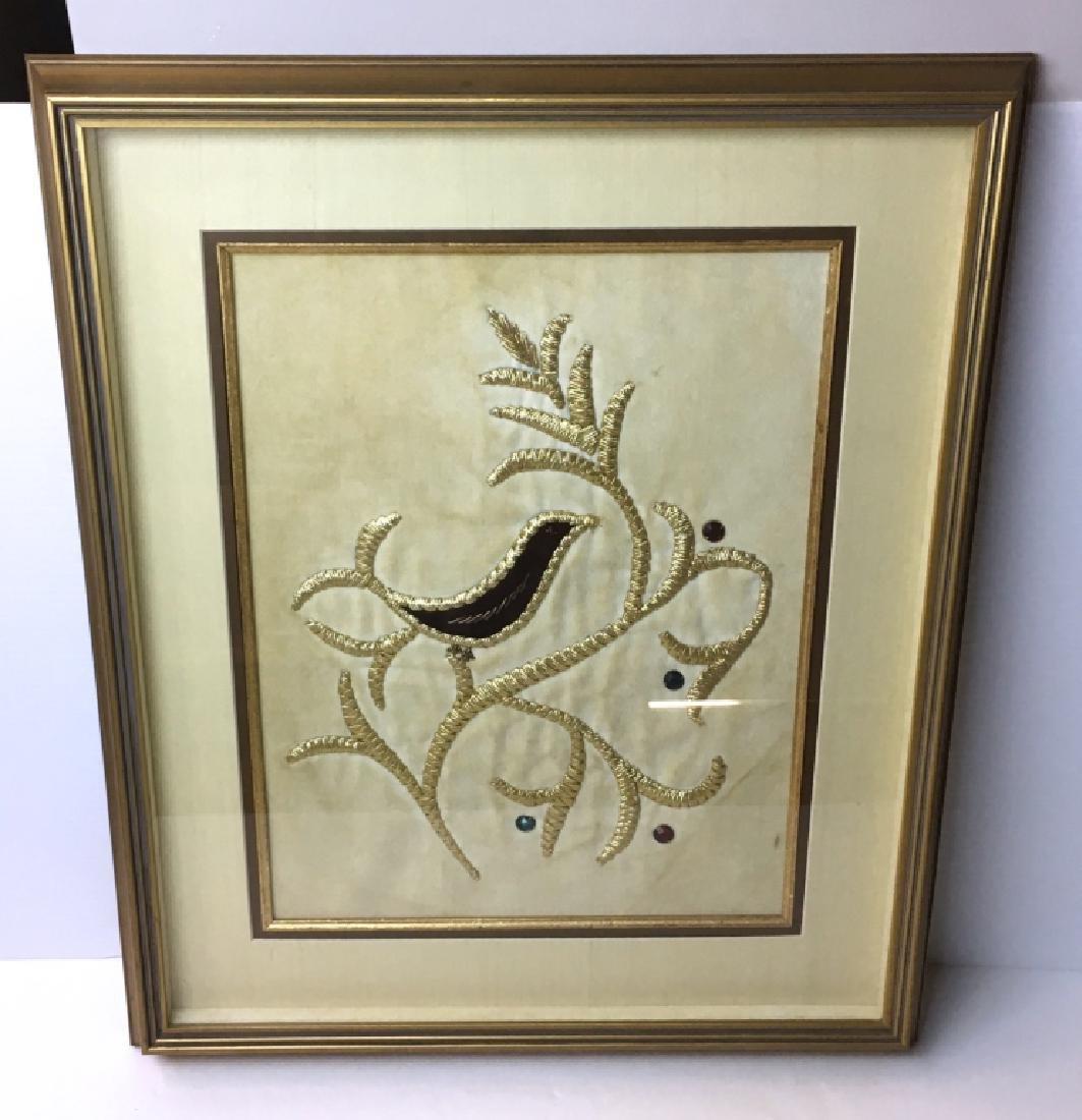 FRAMED GOLD THREAD NEEDLEWORK OF BIRD
