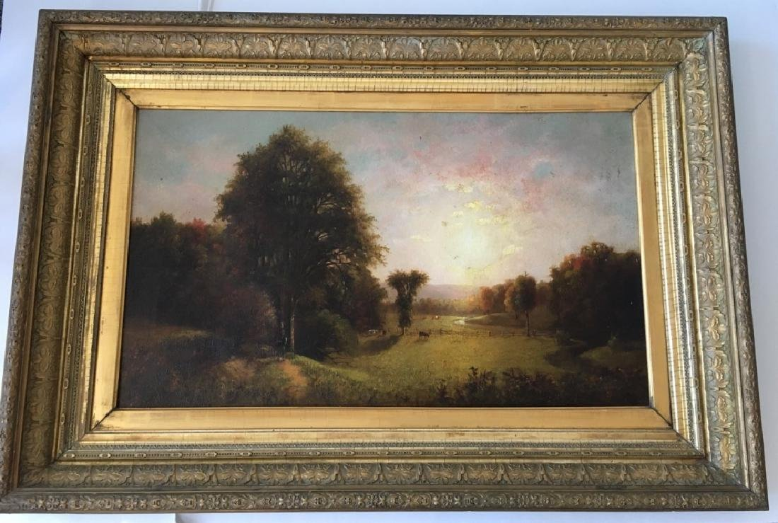 FRAMED OIL ON CANVAS - COUNTRYSIDE PASTURE