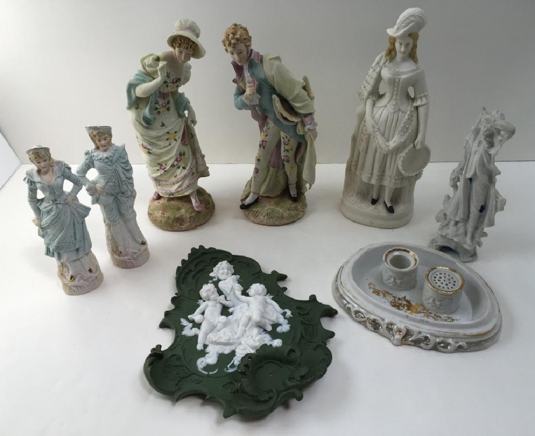 8 PCS - HAND PAINTED BISQUE FIGURINES & PLAQUE