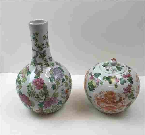 2 PCS HAND PAINTED CHINESE PORCELAIN