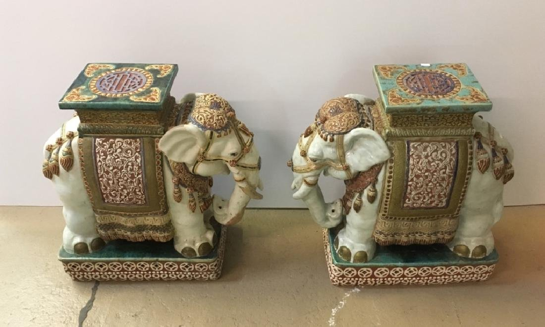 2 CERAMIC HAND PAINTED ELEPHANT GARDEN STOOLS