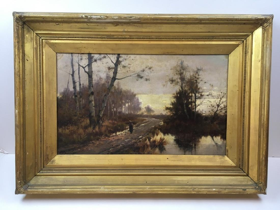 FRAMED OIL ON CANVAS - COUNTRY LANDSCAPE