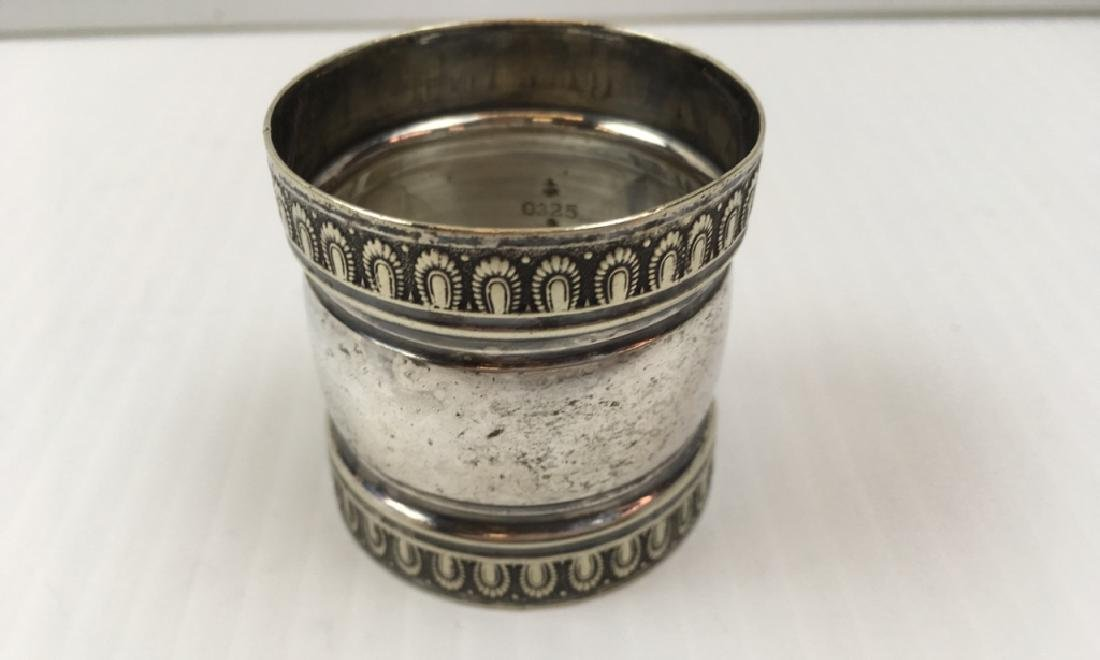 3 ANTIQUE SILVER PLATE NAPKIN RINGS - 15