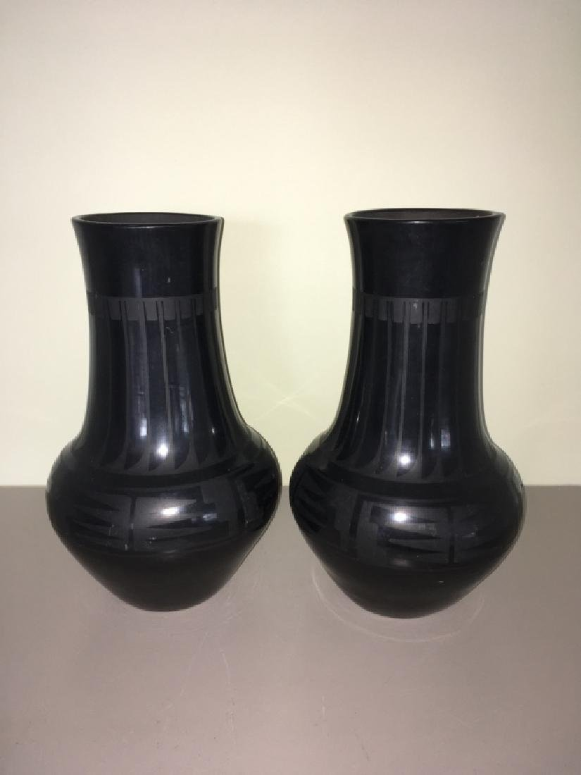 MARIA & JULIAN SIGNED BLACK WARE POTTERY VASES