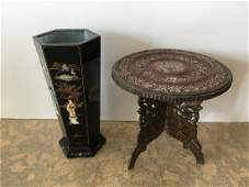 2 PCS - CHINESE UMBRELLA STAND & CARVED TABLE