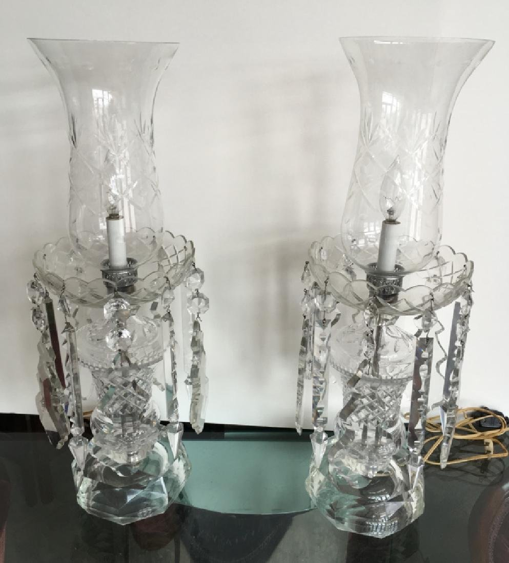 PAIR OF CUT GLASS ELECTRIC MANTLE LUSTERS