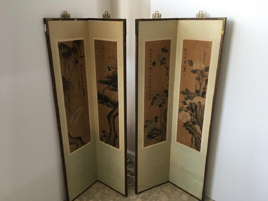 PAIR OF CHINESE 2 PANEL SCREENS - 2