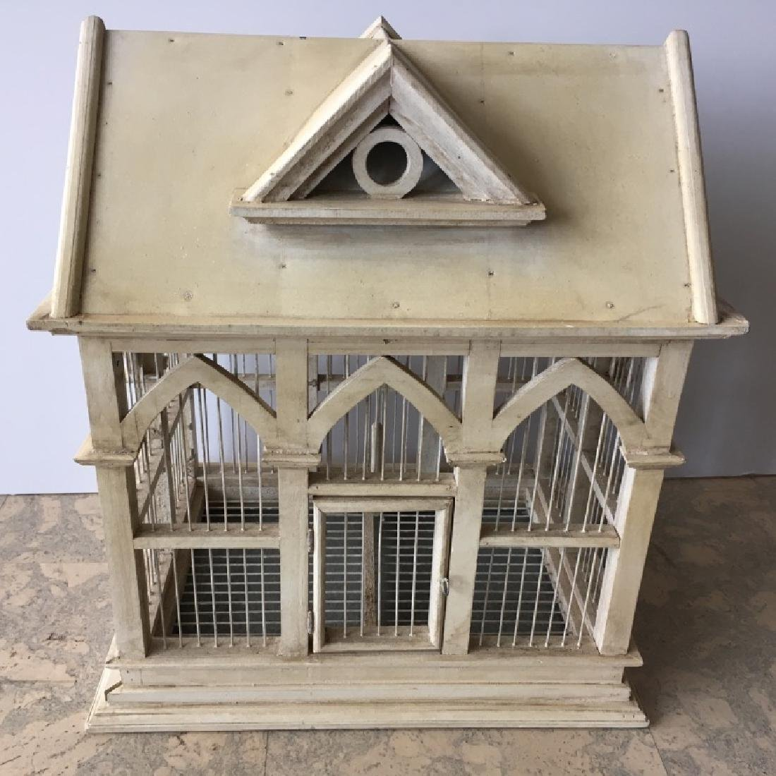 PAINTED WOODEN BIRDCAGE