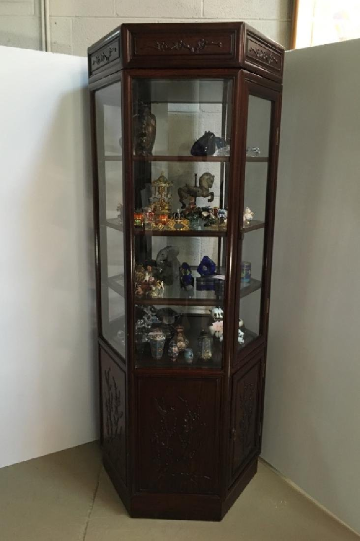 CARVED CHINESE ROSEWOOD DISPLAY CABINET