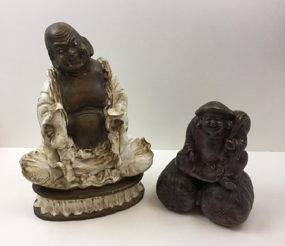 2 CHINESE POTTERY BUDDHA FIGURES