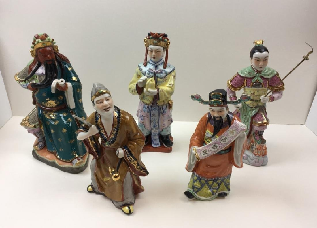 5 HAND PAINTED CHINESE / JAPANESE FIGURINES