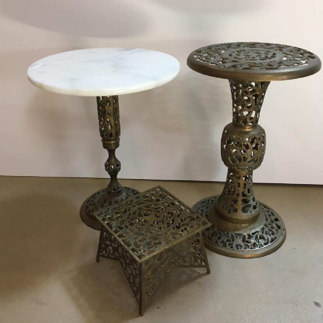 3 PCS OF FILIGREE BRASS - TABLES & STAND