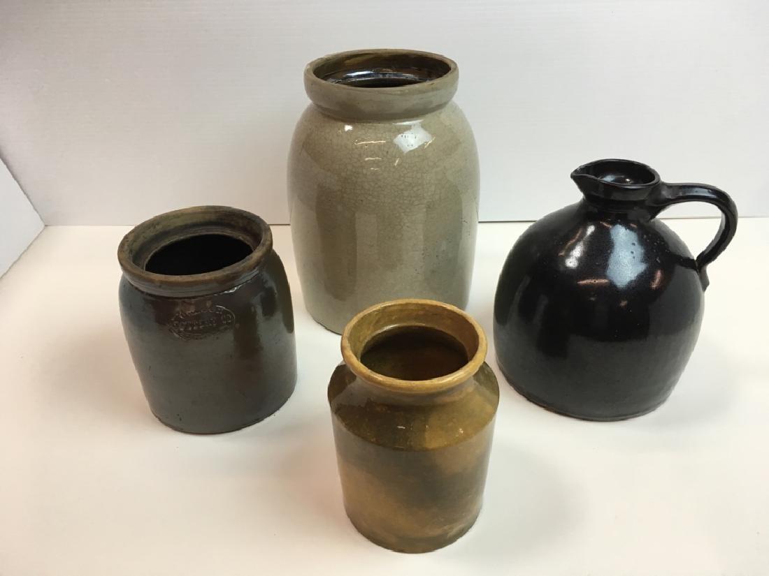 4 STONEWARE JARS & JUG