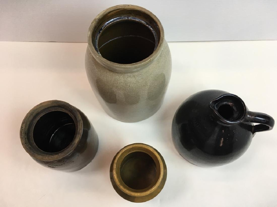 4 STONEWARE JARS & JUG - 2