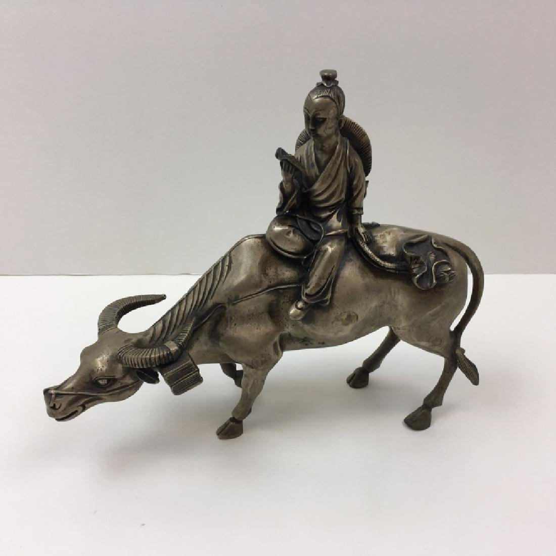 SILVER PLATE BRONZE CHINESE FIGURE ON OX