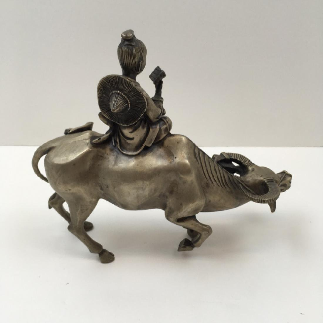 SILVER PLATE BRONZE CHINESE FIGURE ON OX - 5