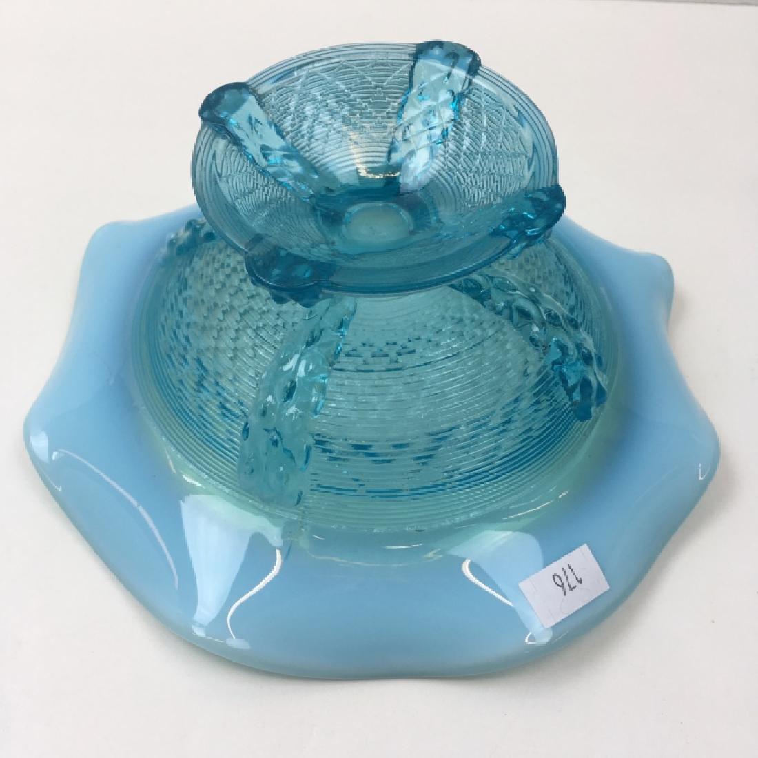5 PCS OF VINTAGE BLUE OPALESCENT & SATIN GLASS - 12