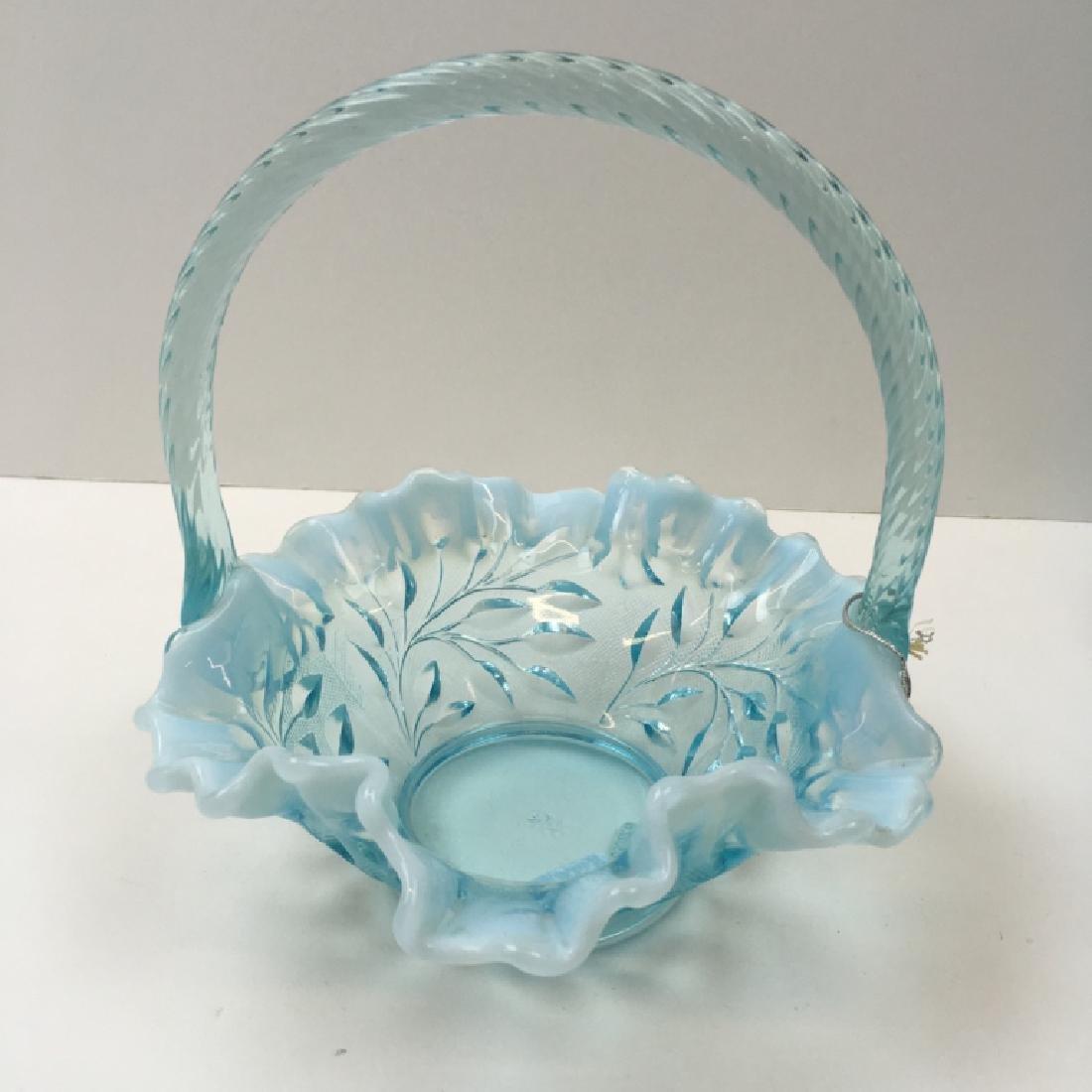 5 PCS OF VINTAGE BLUE OPALESCENT & SATIN GLASS - 14