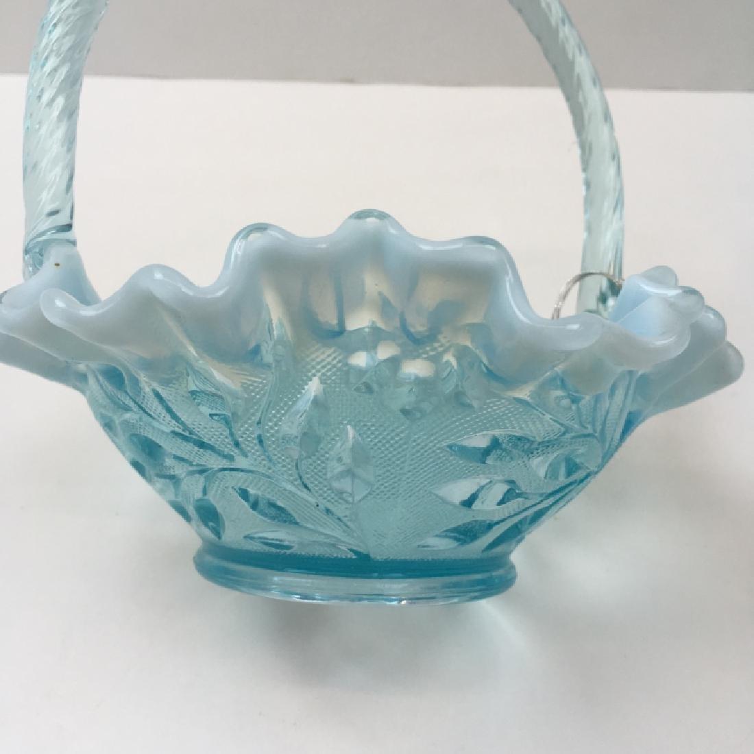 5 PCS OF VINTAGE BLUE OPALESCENT & SATIN GLASS - 16