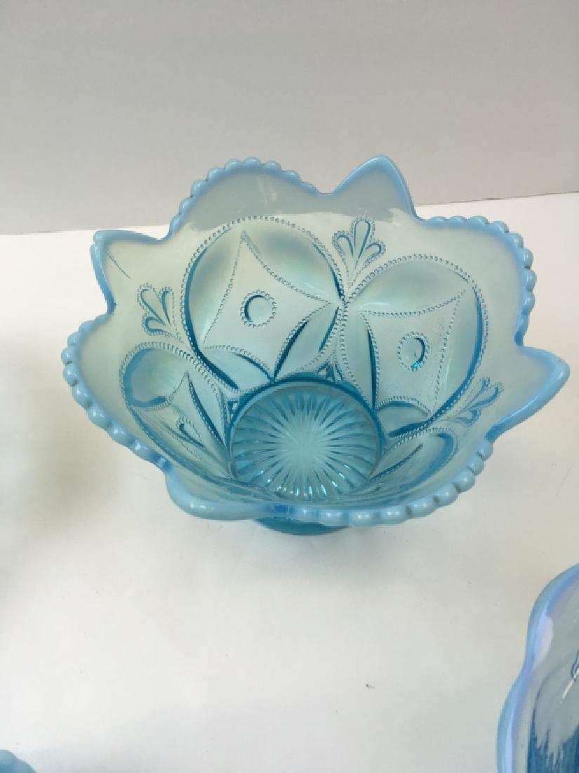 5 PCS OF VINTAGE BLUE OPALESCENT & SATIN GLASS - 3