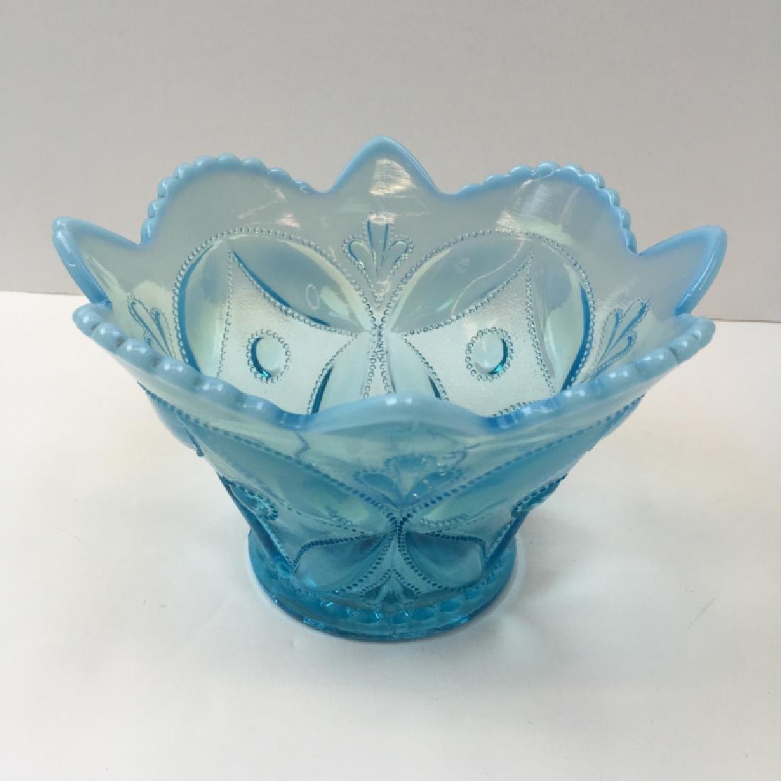 5 PCS OF VINTAGE BLUE OPALESCENT & SATIN GLASS - 7
