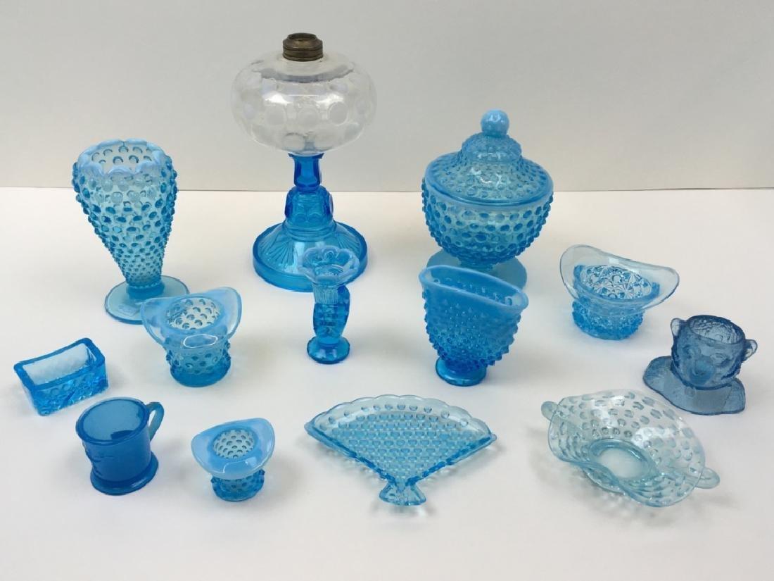 13 PCS OF VINTAGE BLUE GLASS - HOBNAIL, COIN DOT +