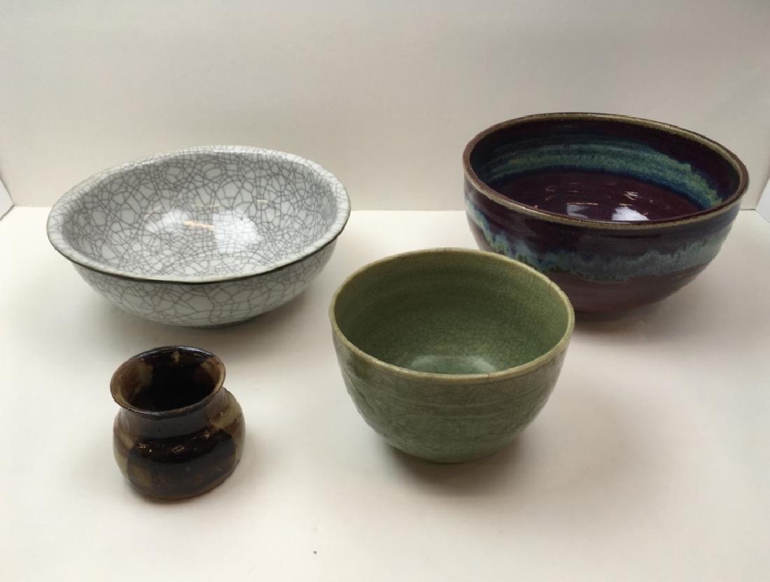 3 CHINESE GLAZED POTTERY BOWLS & 1 ART POTTERY JAR