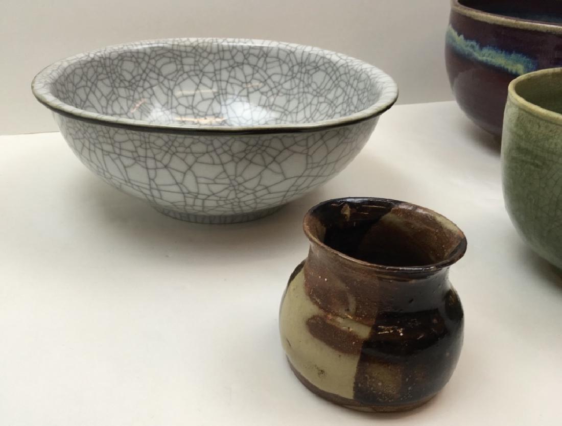 3 CHINESE GLAZED POTTERY BOWLS & 1 ART POTTERY JAR - 6