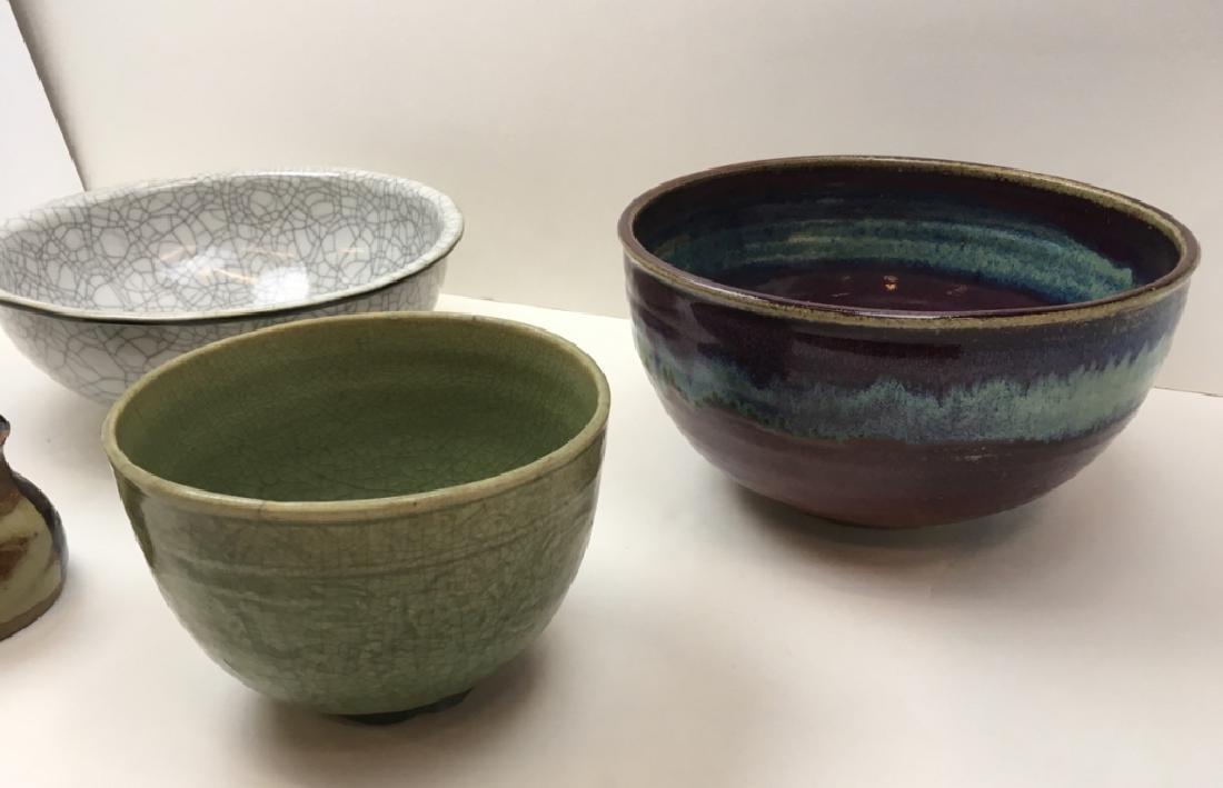 3 CHINESE GLAZED POTTERY BOWLS & 1 ART POTTERY JAR - 7