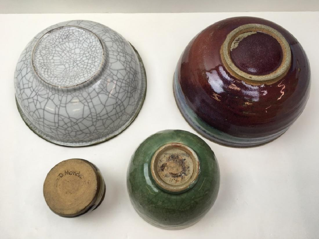 3 CHINESE GLAZED POTTERY BOWLS & 1 ART POTTERY JAR - 8