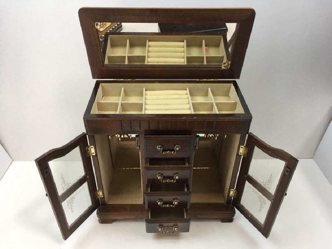 3 PCS - MUSICAL JEWELRY CABINET & 2 BOXES - 3