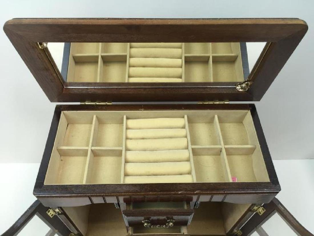 3 PCS - MUSICAL JEWELRY CABINET & 2 BOXES - 4