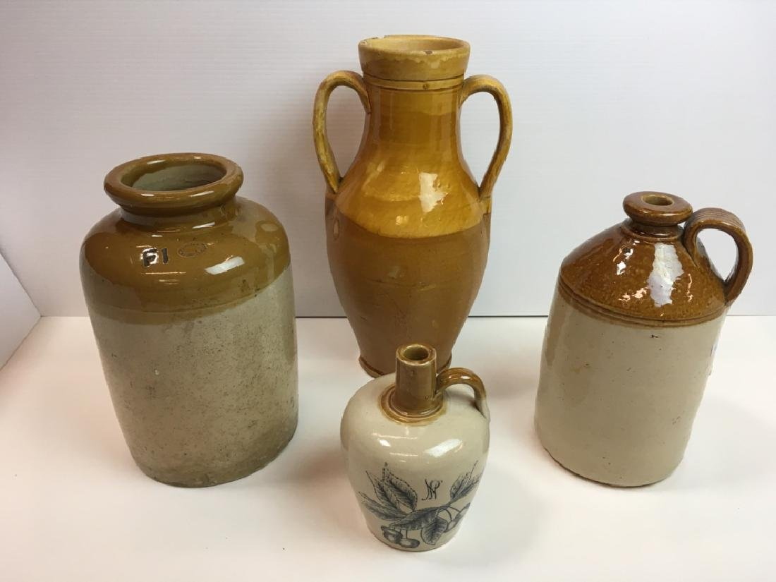 4 STONEWARE JARS & JUGS