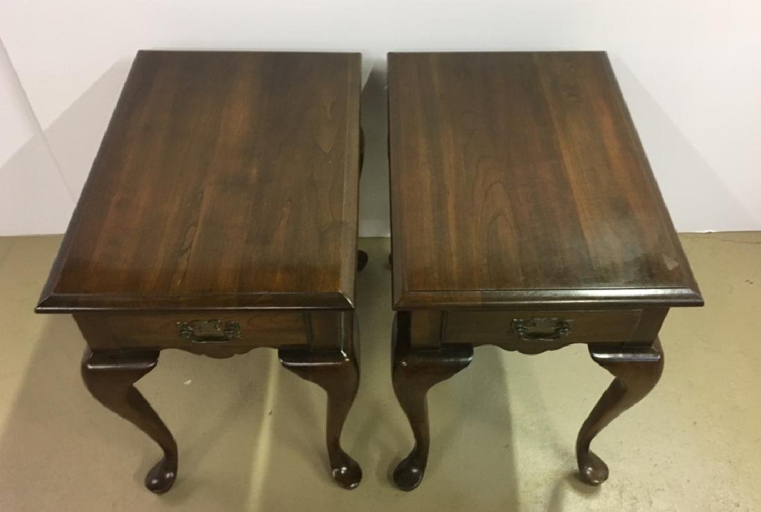 PAIR OF QUEEN ANNE STYLE END TABLES - 2