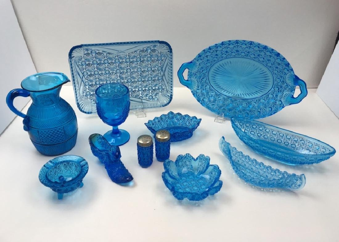 12 PCS OF PEACOCK BLUE DEPRESSION & BLOWN GLASS