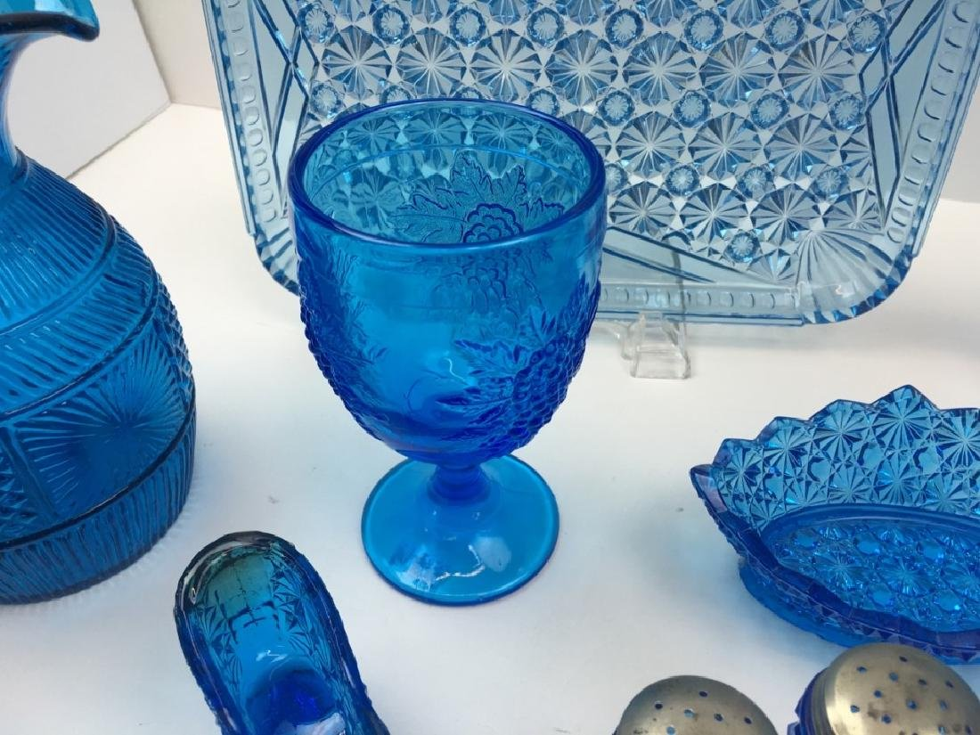 12 PCS OF PEACOCK BLUE DEPRESSION & BLOWN GLASS - 7