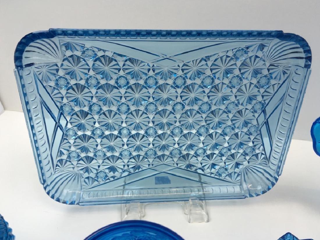 12 PCS OF PEACOCK BLUE DEPRESSION & BLOWN GLASS - 9