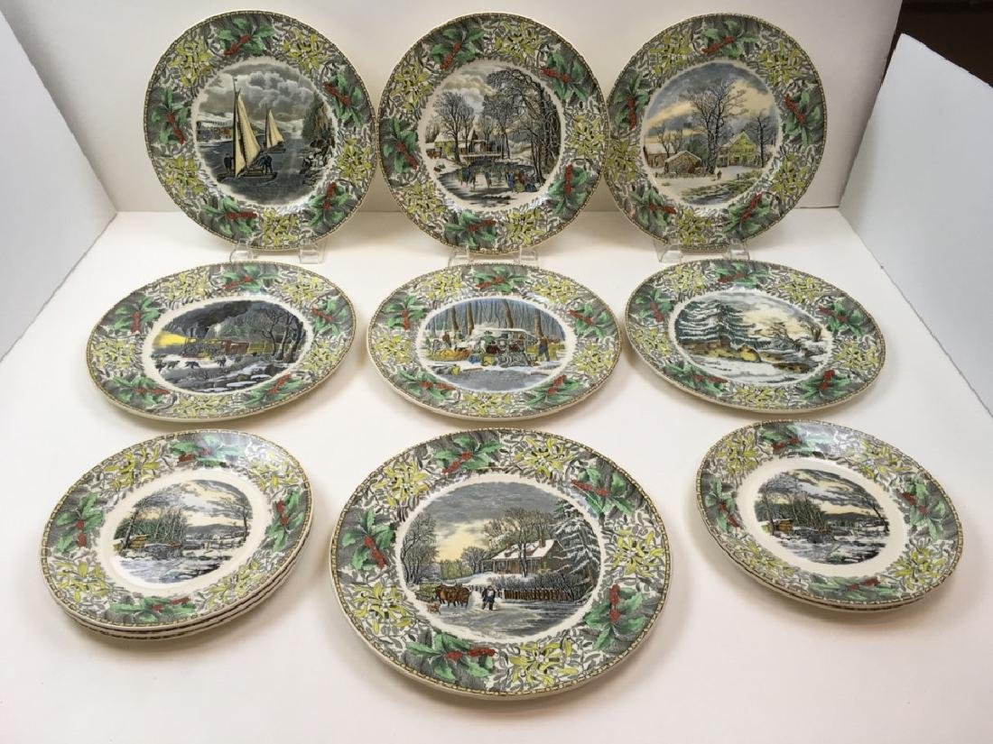 12 TRANSFER WARE PLATES BY ADAMS