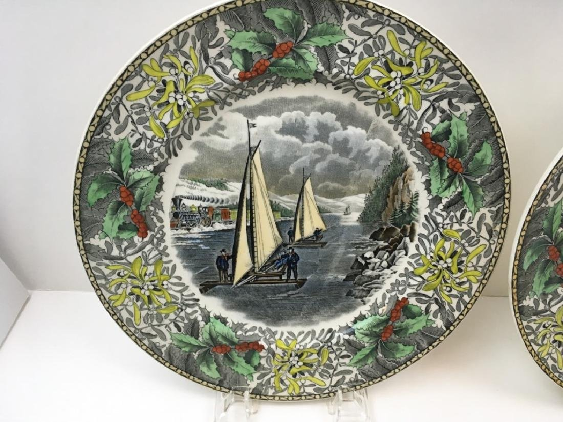 12 TRANSFER WARE PLATES BY ADAMS - 4