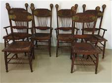 SET OF 6 ANTIQUE CARVED OAK DINING CHAIRS